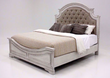 Antique White Stevenson Manor Queen Bed With an Upholstered Headboard at an Angle | Home Furniture Plus Bedding