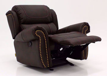 Brown Austin Rocker Recliner at an Angle in the Reclined Position | Home Furniture Plus Mattress