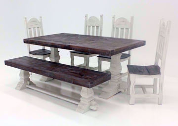 Colorado 6 Piece Table Set, Gray and White, Angle | Home Furniture Plus Bedding