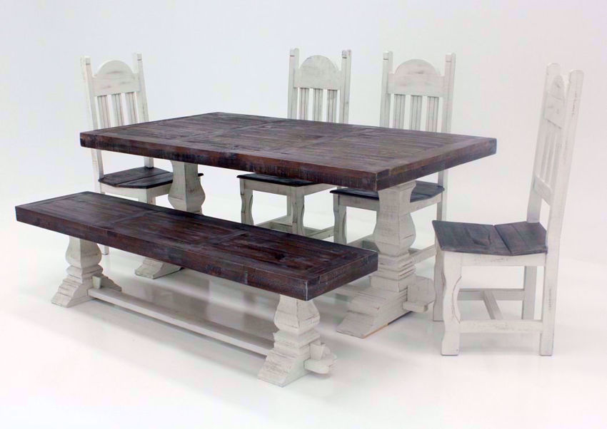 Gray and White Colorado 6 Piece Table Set at an Angle | Home Furniture Plus Bedding
