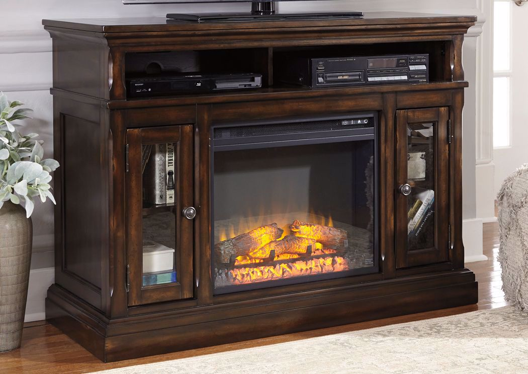 Roddinton 50 Inch Tv Stand With Fireplace Brown Home Furniture