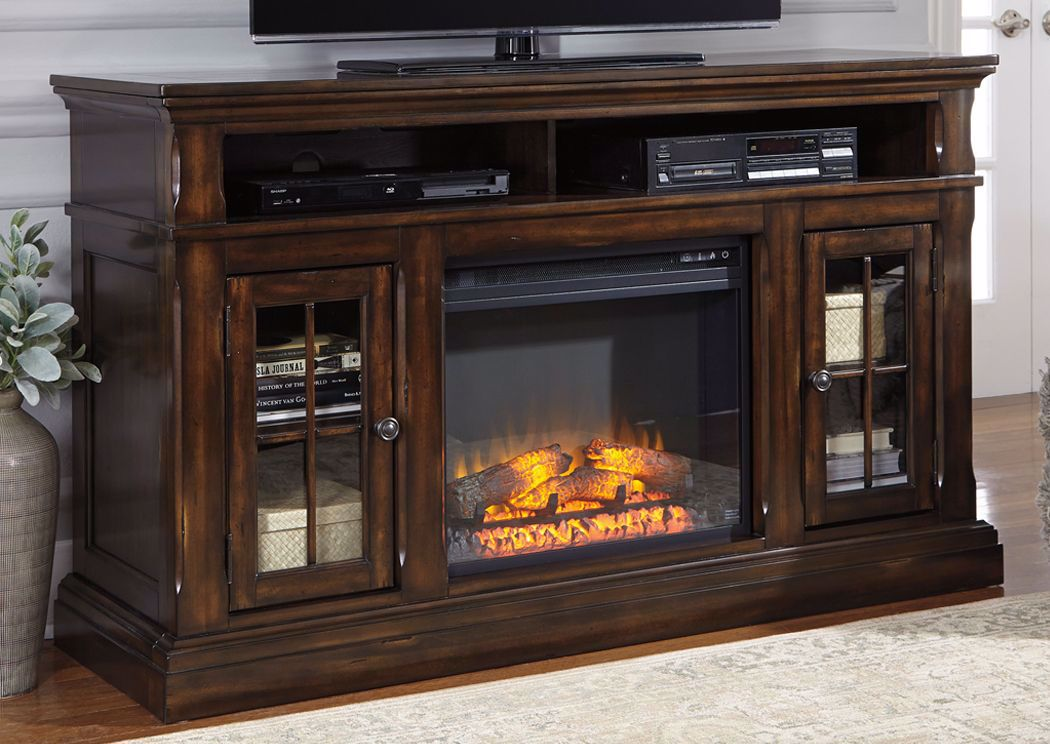 Roddinton 60 Inch Tv Stand With Fireplace Brown