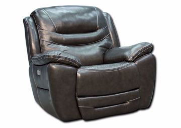 Dallas POWER Glider Recliner, Gray, Angle | Home Furniture Plus Bedding