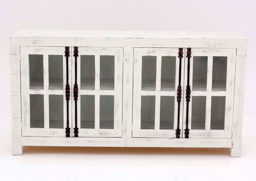 Distressed White Ecko 66 Inch Accent Cabinet Facing Front | Home Furniture Plus Mattress