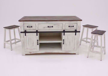 White and Brown Messina Counter Height Dining Table Set Facing Front | Home Furniture Plus Bedding