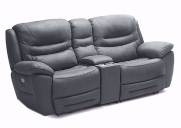 Dakota POWER Reclining Loveseat, Gray, Angle | Home Furniture Plus Mattress
