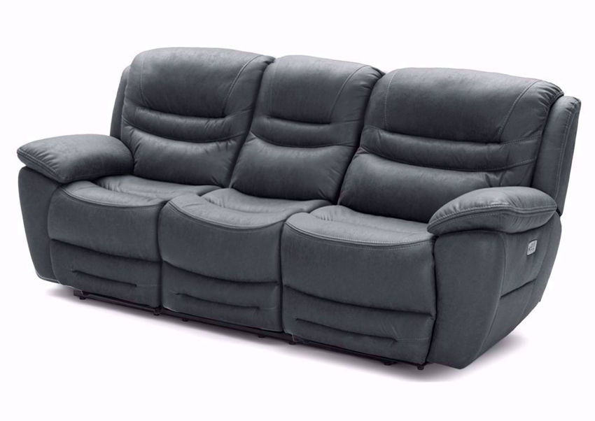 Charcoal Gray Dakota POWER Reclining Sofa Showing the Angle View | Home Furniture Plus Bedding