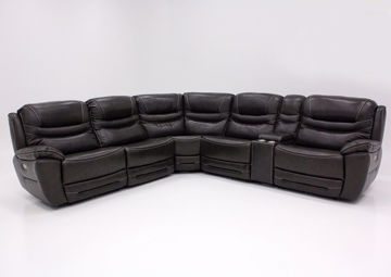 Dallas POWER Reclining Sectional Sofa - Gray, Front Facing with Power Logo