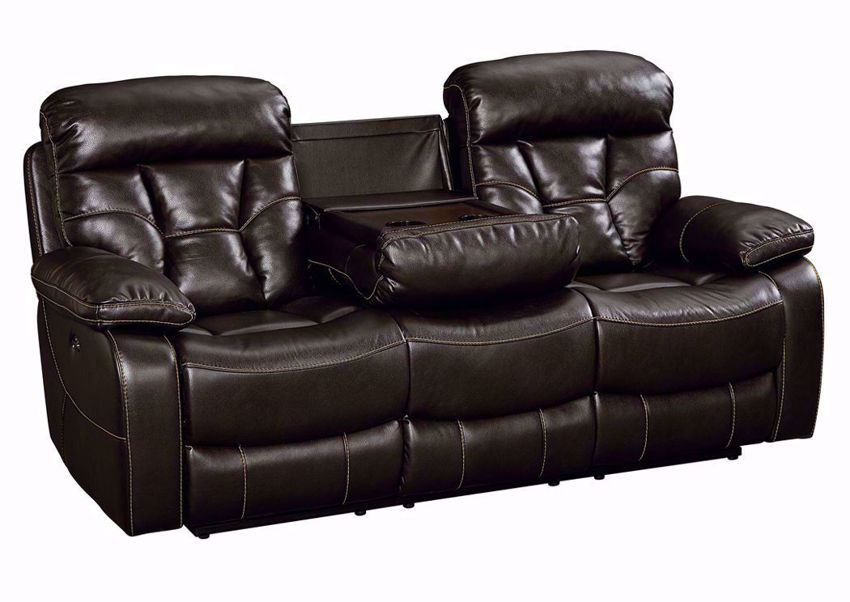 Java Brown Peoria Reclining Sofa at an Angle with the Hidden Table Down | Home Furniture Plus Mattress