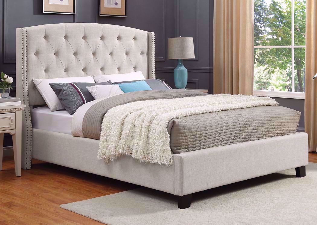 Eva Queen Size Upholstered Bed White Home Furniture Plus Bedding