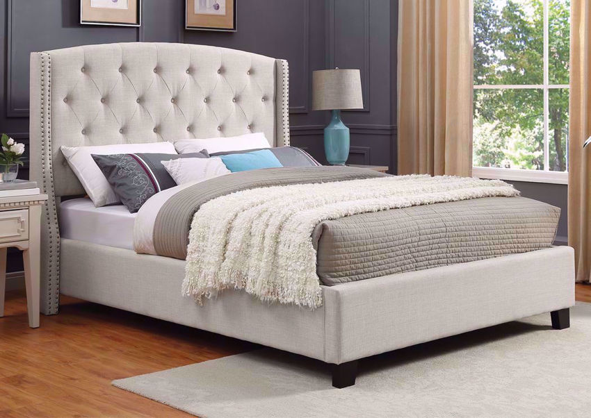 White Eva Queen Size Upholstered Bed at an Angle in a Room Setting | Home Furniture Plus Mattress