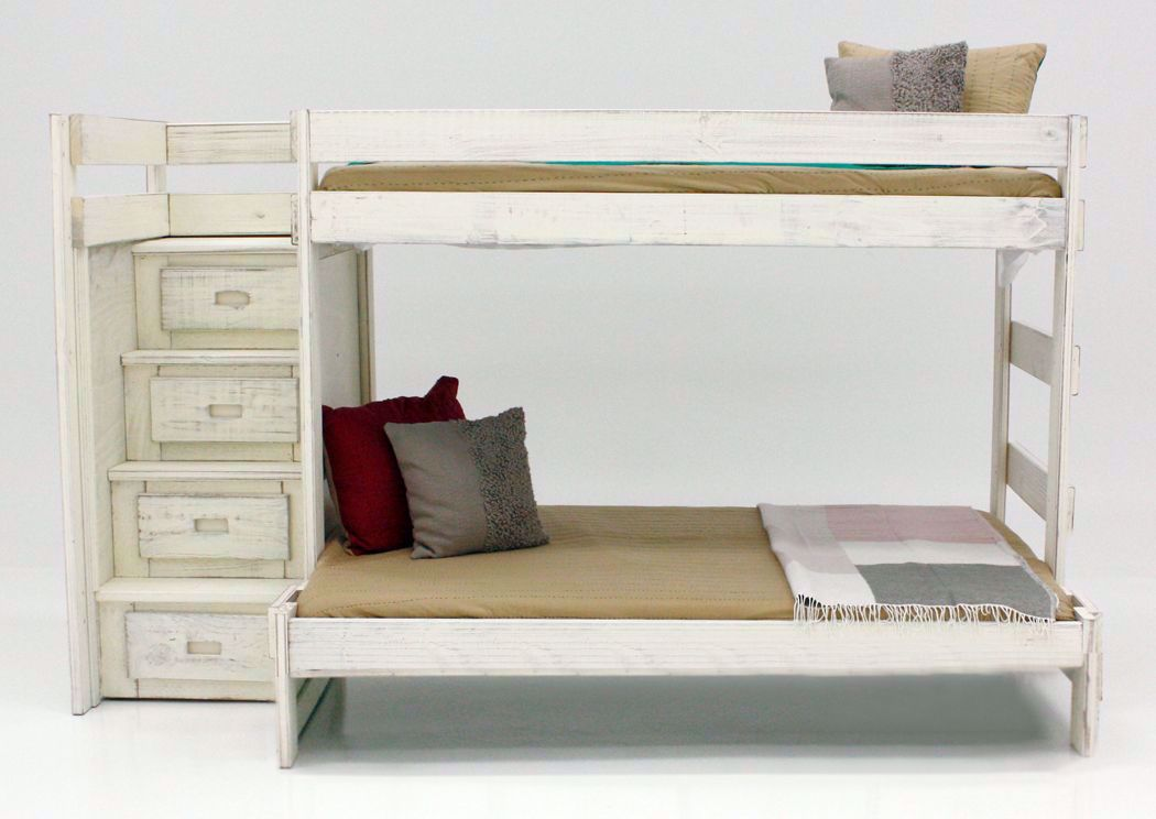 Picture of: Duncan Twin Full Staircase Bunk Bed White Home Furniture Plus Bedding