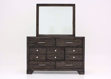 Dark Brown Jaymes Dresser with Mirror Facing Front | Home Furniture Plus Mattress
