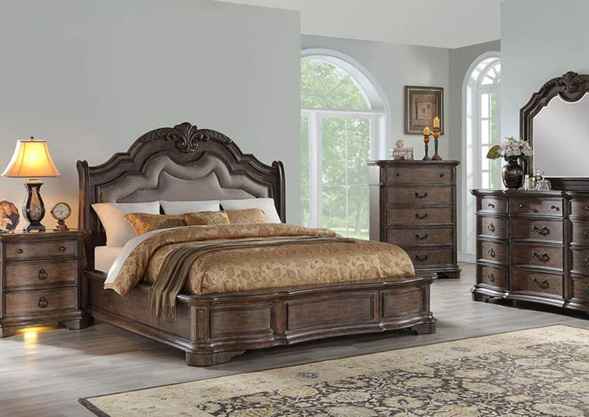 Tulsa Queen Size Bedroom Set Light Brown