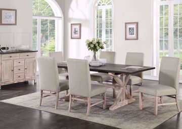 Jefferson 7 Piece Dining Table Set, Brown, Room Shot | Home Furniture Plus Bedding