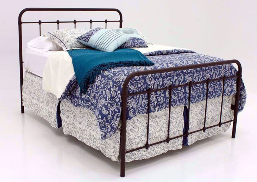 Brown Jourdan Creek Queen Iron Bed at an Angle | Home Furniture Plus Bedding