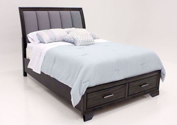 Brown Upholstered Jaymes King Bed at an Angle | Home Furniture Plus Bedding