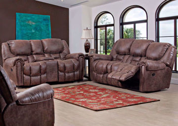 Picture of Santa Monica POWER Reclining Sofa Set - Brown