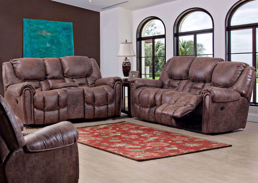 Santa Monica POWER Reclining Sofa Set in Brown by HomeStretch Recliners | Home Furniture Plus Bedding