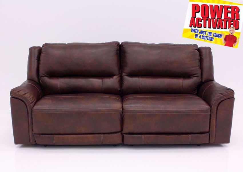 Catanzaro Leather Power Activated Reclining Sofa by Ashley Furniture | Home Furniture + Mattress