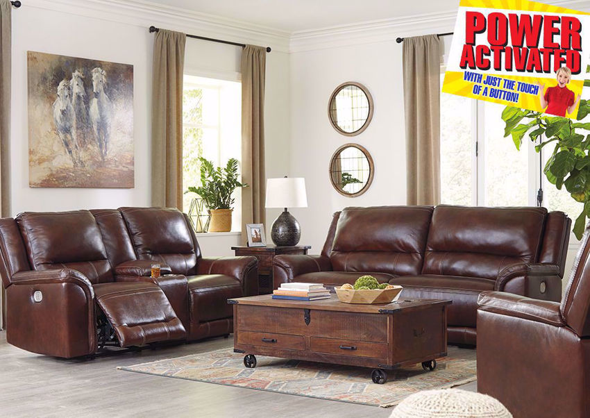 Catanzaro Leather Power Activated Reclinin Sofa Set by Ashley Furniture. Set Includes Sofa, Loveseat and Recliner   Home Furniture Plus Bedding