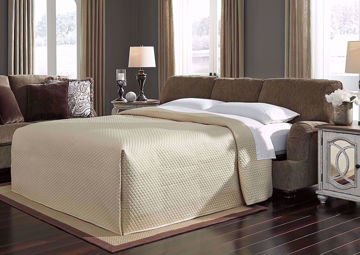 Room View with Open Bed on Braemer Sleeper Sofa by Ashley Furniture With Measurement Details | Home Furniture + Mattress