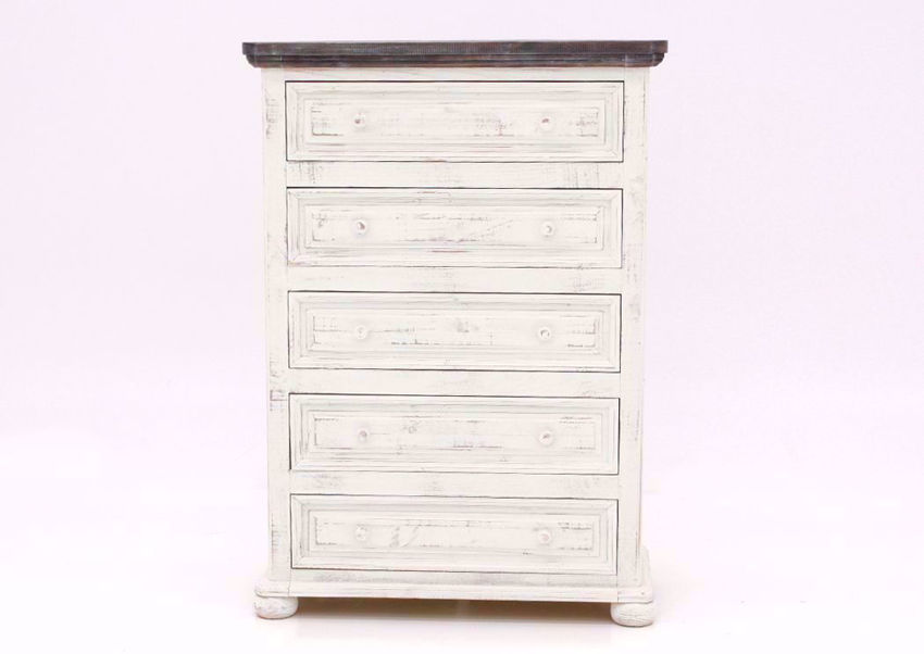 Whitewash White Allie Chest of Drawers Facing Front   Home Furniture Plus Bedding