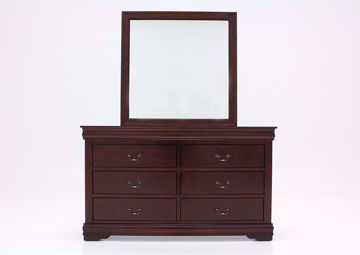 Brown Louis Philippe Dresser with Mirror Facing Front | Home Furniture Plus Bedding