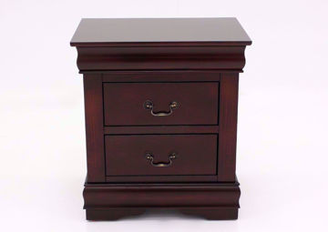 Louis Philippe Nightstand, Cherry Brown, Front Facing | Home Furniture Plus Bedding