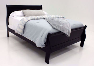 Black Louis Philippe Queen Bed at an Angle | Home Furniture Plus Bedding