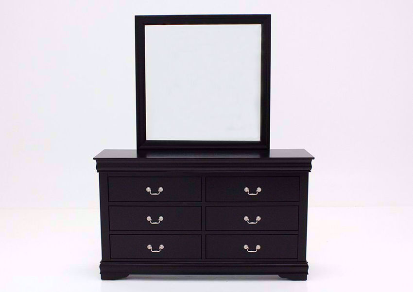 Black Louis Philippe Dresser with Mirror Facing Front | Home Furniture Plus Bedding