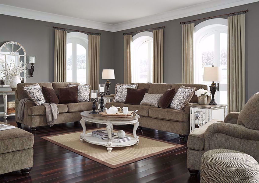 Room Setting of the Braemer Sofa Set by Ashley Furniture includes Sofa, Loveseat and Chair | Home Furniture Plus Bedding