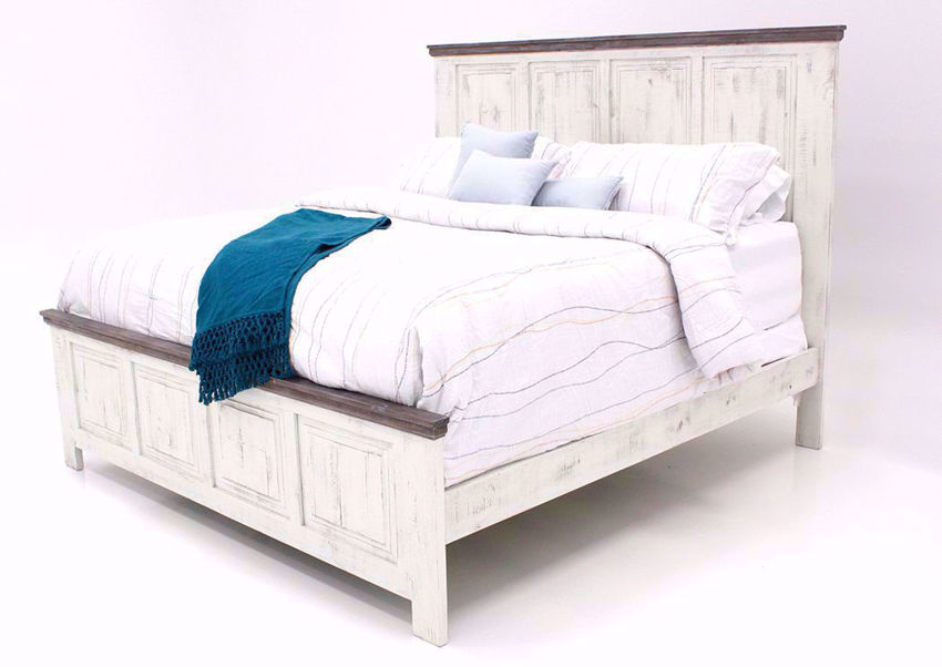 Distressed Whitewash White Allie Full Size Bed at an Angle | Home Furniture Plus Bedding