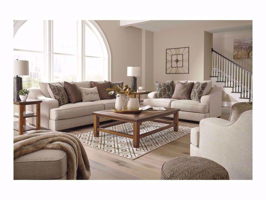 Off White Marciana Sofa Set by Ashley Furniture in Room Setting (Set Price Includes Sofa, Loveseat and Chair) | Home Furniture Plus Bedding