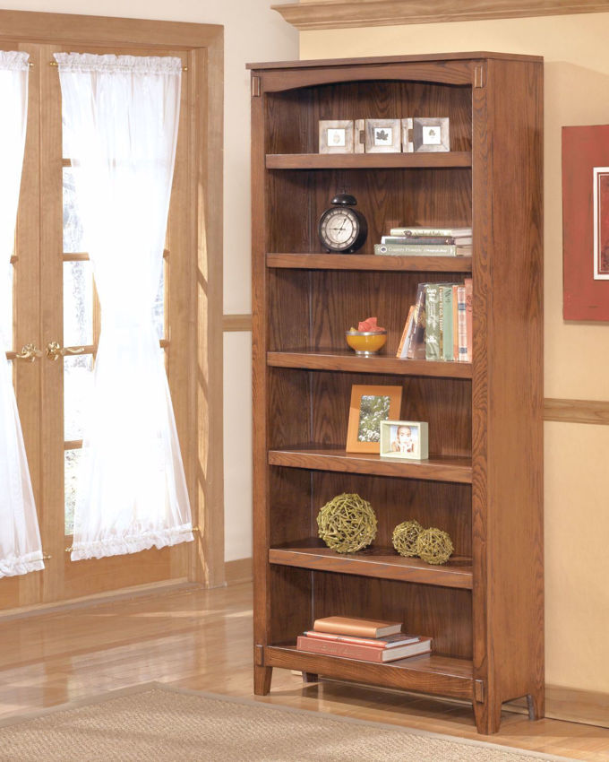 Cross Island Large Bookcase with Medium Brown Finish | Home Furniture Plus Bedding