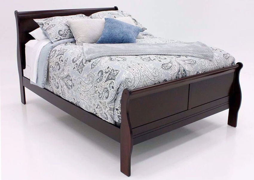 Picture of Louis Philippe King Size Bed - Cherry Brown
