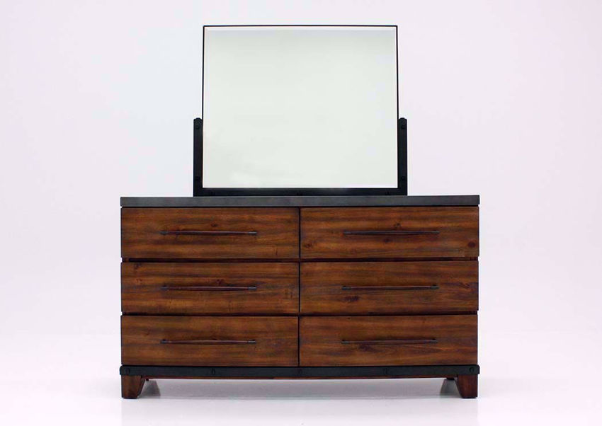 Warm Brown Silo Dresser with Mirror Facing Front | Home Furniture Plus Bedding