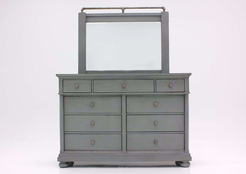 Bellville Dresser and Mirror, Gray, Front Facing  | Home Furniture Plus Bedding