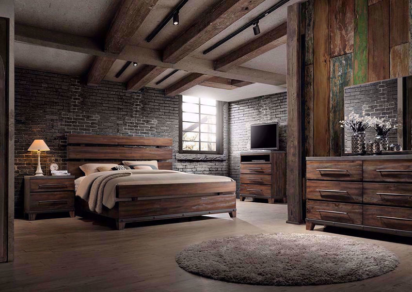 Dark Brown Silo Bedroom Set in a Room Setting. Includes Queen Bed, Dresser With Mirror and 1 Nightstand | Home Furniture Plus Bedding