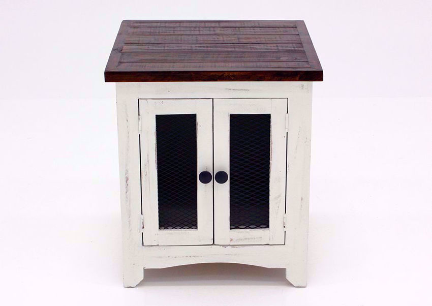 White and Brown Pueblo End Table Facing Front | Home Furniture Plus Bedding