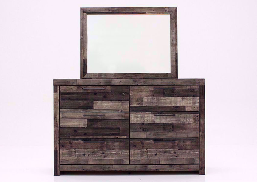 Rustic Gray Brown Derekson Dresser with Mirror with 6 Drawers by Ashley Furniture Facing Brown | Home Furniture Plus Bedding