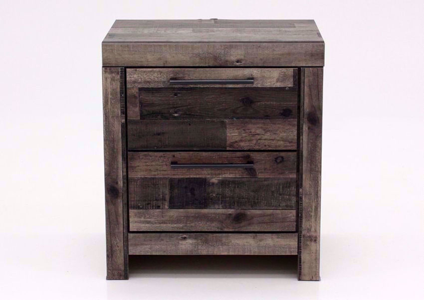 Rustic Gray Brown Derekson Nightstand by Ashley Furniture Facing Front | Home Furniture Plus Mattress