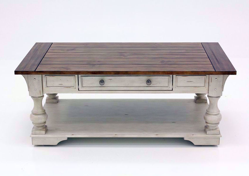 White and Brown Morgan Creek Coffee Table Facing Front | Home Furniture Plus Mattress
