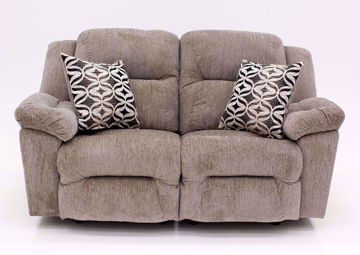 Tan Microfiber Upholstered Donnelly Power Activated Reclining Loveseat with Accent Pillows by Franklin | Home Furniture + Mattress