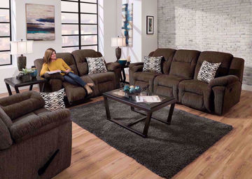 Dark Brown Microfiber Upholstered Donnelly Sofa Set by Franklin. Includes Reclining Sofa, Reclining Loveseat, Recliner and Accent Pillows | Home Furniture + Mattress