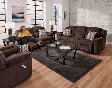 Dark Brown Microfiber Upholstered Donnelly Power Activated Reclining Sofa Set by Franklin. Includes Reclining Sofa, Reclining Loveseat, Recliner and Accent Pillows | Home Furniture + Mattress