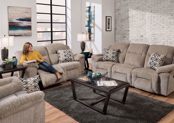 Tan Microfiber Upholstered Donnelly Power Activated Reclining Sofa Set by Franklin. Includes Reclining Sofa, Reclining Loveseat, Recliner and Accent Pillows | Home Furniture + Mattress