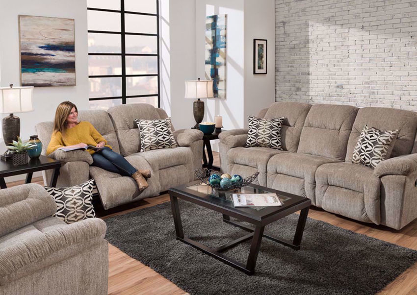 Tan Microfiber Upholstered Donnelly Power Activated Reclining Living Room Set by Franklin in a Room Setting. Includes Power Activated Reclining Sofa, Loveseat and Recliner | Home Furniture Plus Bedding