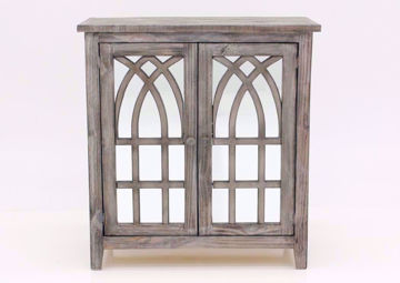 Distressed Gray Cathedral 2 Door Cabinet Facing Front | Home Furniture Plus Mattress