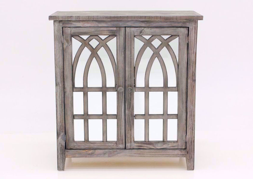 Distressed Gray Cathedral 2 Door Cabinet Facing Front | Home Furniture Plus Bedding